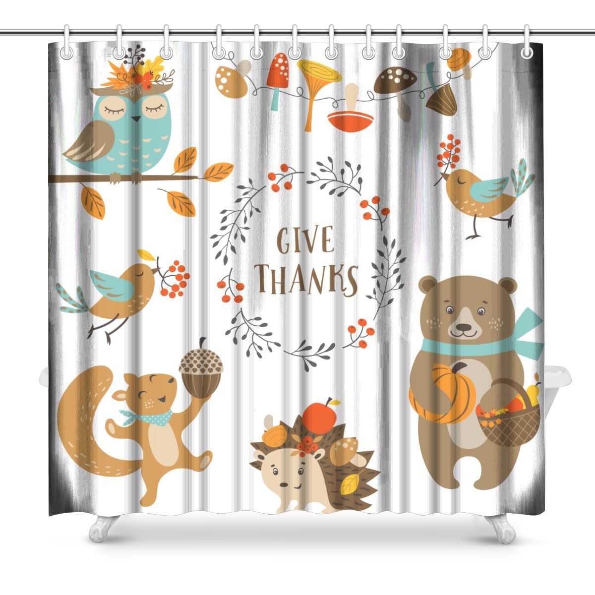 Aplysia Cute Woodland Animals For Autumn And Thanksgiving Polyester Fabric Bathroom Shower Curtain Set With Hooks
