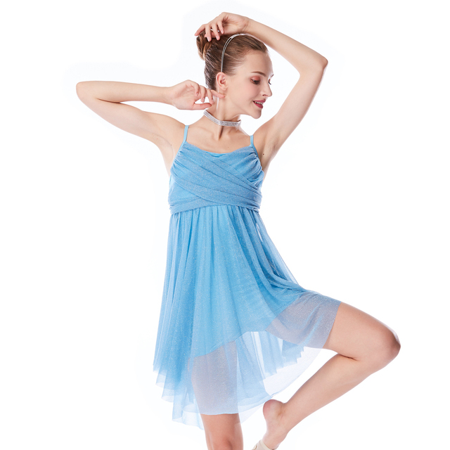 de00924441c4 MiDee Lyrical Dress Silver Glitter Crossing Pleats Dress Dance ...