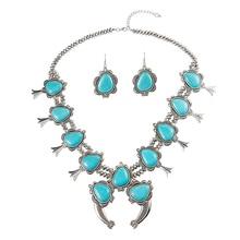 Faux Navajo Stil Faux Squash Blossom Halskette Acryl Perlen Türkis Halskette