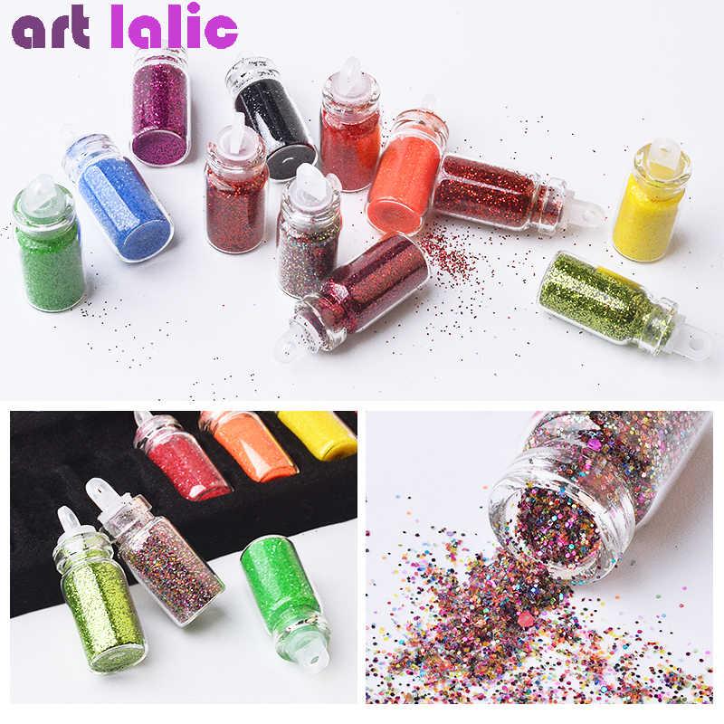 48 Bottles Nail Art Rhinestones Beads Sequins Glitter Tips Decoration Tool Gel Nail Stickers Mixed Design Case Set