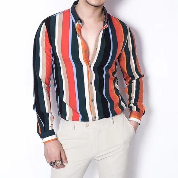 Rainbow Stripe Shirt Men 2019 Colorful Shart Stripe Shirt Men Long Sleeve Camisa Para Hombre Korean Men Casual  Club Shirts