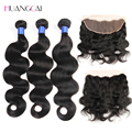 Lace Frontal Closure with bundles peruvian virgin hair body Wave with closure peruvian body wave 2bundles with frontal closure