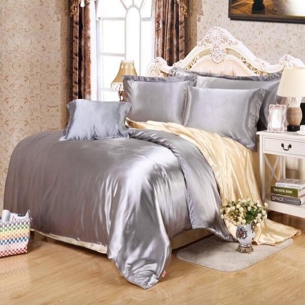 23 colors comfortable satin silk duvet cover king queen twin size housse de couette adulte highq. Black Bedroom Furniture Sets. Home Design Ideas