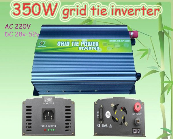 350W Grid Tie Inverter for Solar Panel 28V-52V DC(350 watt, 220V, High Efficiency, Free Shipping)