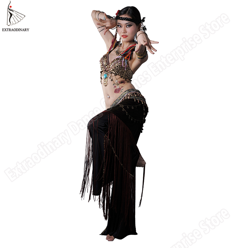 80b27531b3 New Women ATS Tribal Belly Dance Bra Hip Scarf Costume Set Stage Performance  Gypsy Top Belt Tassels 2Pcs Clothes 3 Colors