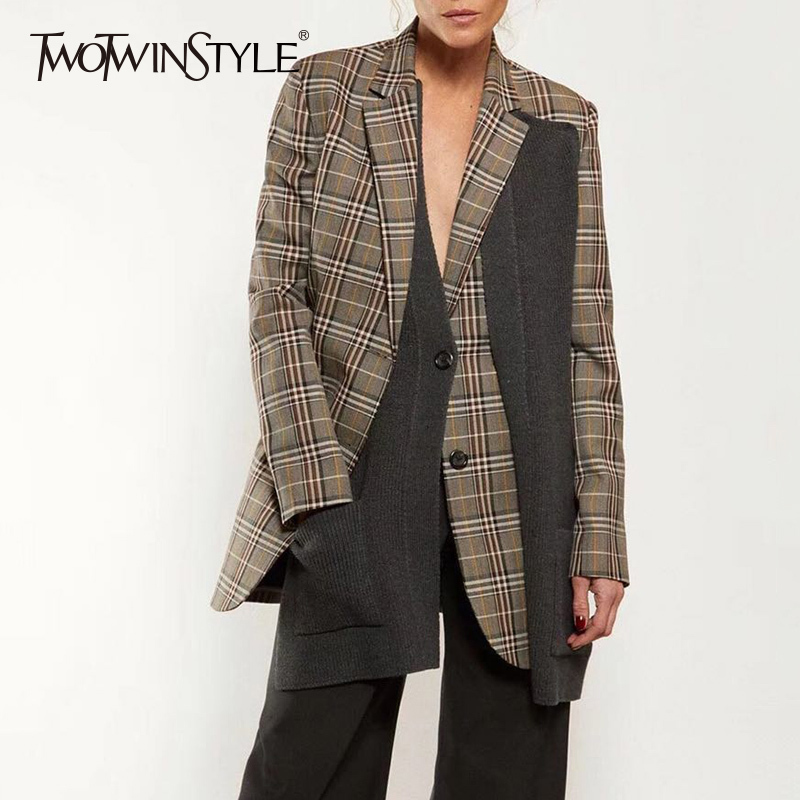 TWOTWINSTYLE Knitted Patchwork Blazer Female Plaid Long Sleeve Irregular Women Coat Tops 2018 Autumn Winter Fashion Casual New