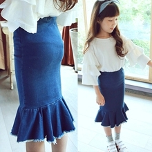 2016 summer new ruffles girls skirts baby kids pettiskirt denim blue girl clothing american pencil trouses suit 2-7T saia