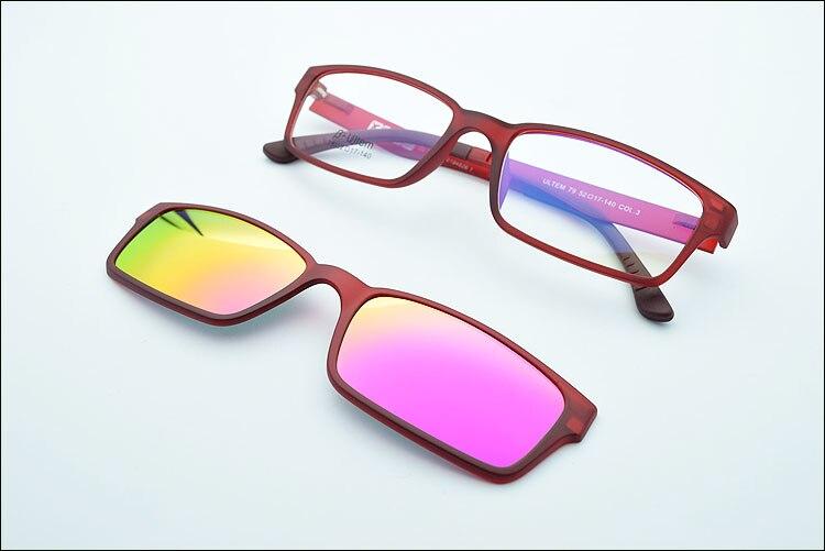 Ультра-светильник, вольфрам, титан, оправа для очков, 3D магнит, зажим, солнцезащитные очки, близорукость, функциональные очки, поляризационные, JKK 79 - Цвет оправы: Wine red coating