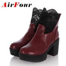 Airfour New Autumn Spring Motorcycle Ankle Boots High Heels Breathable Black Red White Boots Fashion Lace Women Shoes