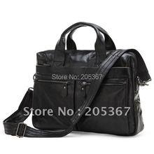 100% Genuine Leather Men's Black Coffee Handbag Messenger Bag Laptop Briefcase  # 7122A / 7122C