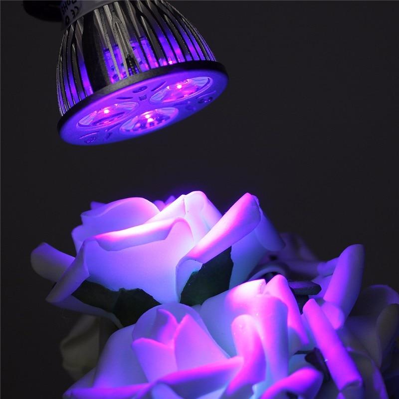 3W LED Grow Light E27 B22 GU10 UV Ultraviolet Purple LED Spotlight Bulb Plant Lamp Greenhouse Hydroponics System AC85-265V