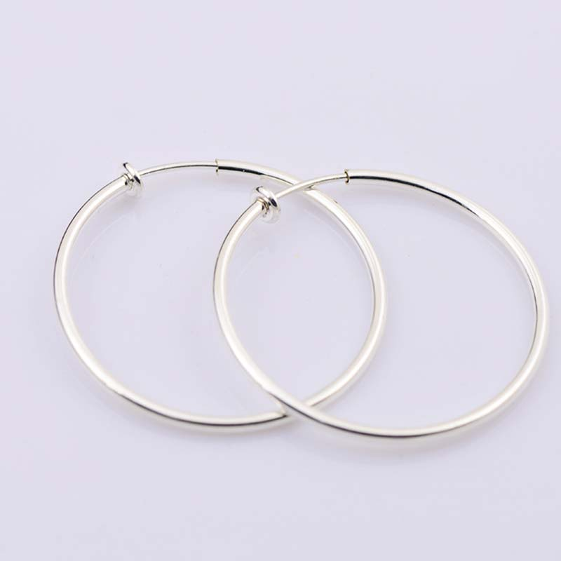 Sale Spring Non-Pierced Clip-On Ear Clips Hoop Punk Goth Earrings Women Fake Earrings hoops circle 40-60 mmFashion jewelry(China)