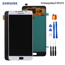 AMOLED LCD for SAMSUNG Galaxy A7 2016 LCD Display A7100 A710F A710 LCD Touch Screen Digitizer Replacement For Samsung A710 LCD original amoled a7 2017 a710 lcd display for samsung galaxy a7 2017 a720 a720f lcd display touch screen digitizer assembly