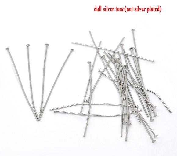 90PCs Silver Color Head Pins 0.7x50mm(21 Gauge) New