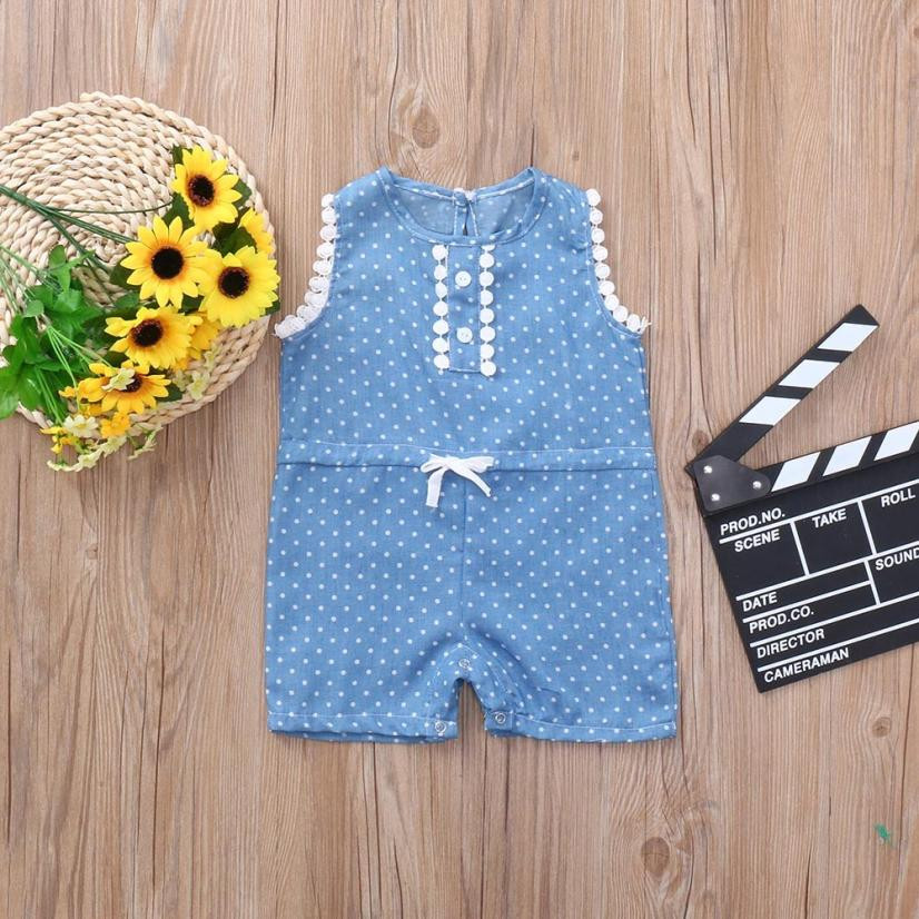 Newborn onesie baby girl rompers summer 2018 Lace Dot Print Bowknot Jeans Romper baby jumpsuit little girl clothes