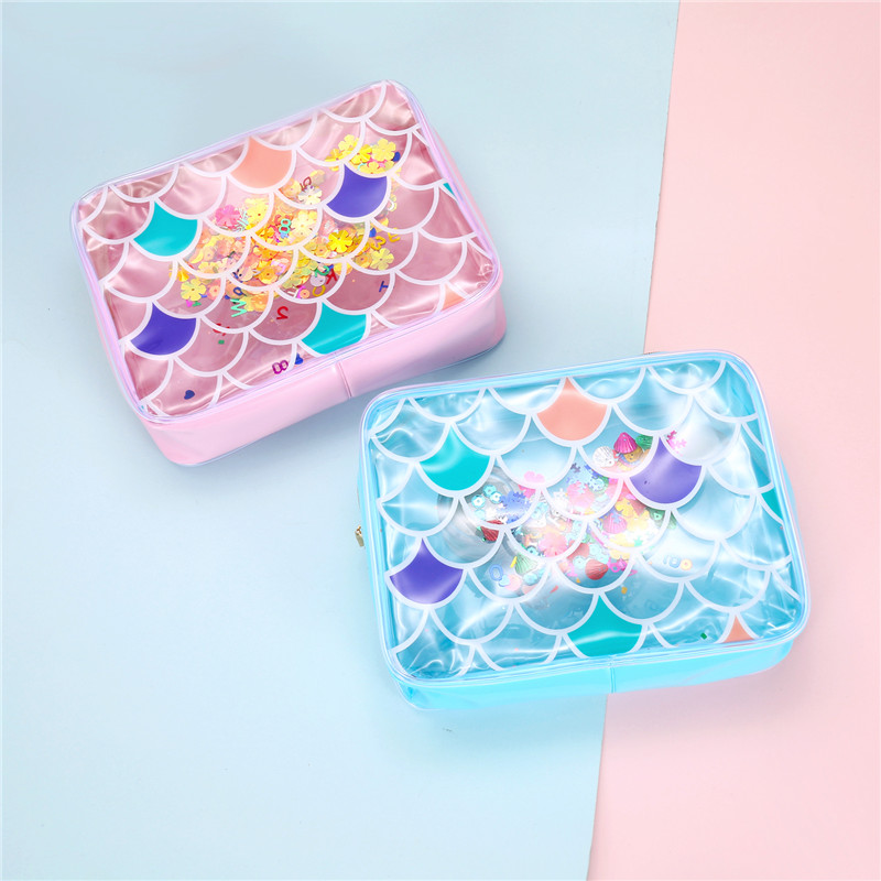 Fashion Mermaid PVC Cosmetic Bag For Women Waterprood Clear Makeup Bag Large Female Wash Storage Pouch Beach Jelly Purse