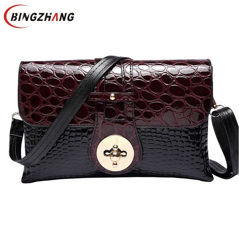 New 2017 Patent Leather Crocodile Women Messenger Bags Ladies Crossbody Shoulder Bags For Women Casual Bag Ladies Sac L4-2936 patent leather handbag shoulder bag for women