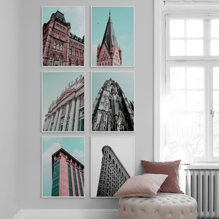 Paris France England Italy Building Nordic Posters And Prints Wall Art Canvas Painting Pictures For Living Room Home Decor