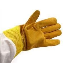 Пара защитных пчеловодческих перчаток чистая козья пчелиная Кожа Вентилируемые с длинными рукавами оборудование и инструменты для пчеловодства