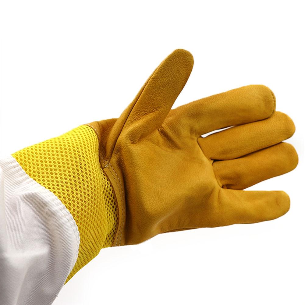 A Pair Of Protective Beekeeping Gloves Net Goatskin Bee Keeping Vented Long Sleeves Beekeeping Equipment And Tools