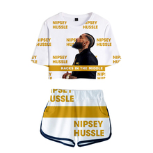 Kpop 3D Rep nipsey hussle swomen sets Print sexy Two Pieces Women shorts and crop tops 2019 New Hot Sale Plus Size