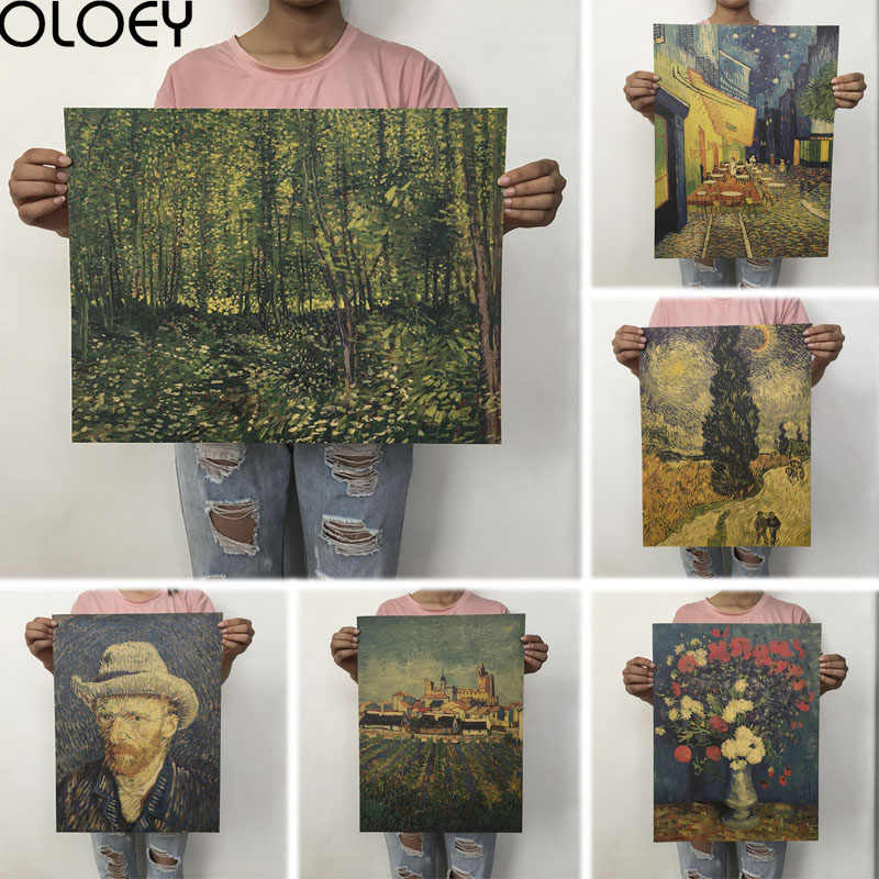 OLOEY 1PC 51.5x36cm Retro Kraft Paper Van Gogh Series Poster Modern Abstract Art Oil Painting Bar Cafe Wall Sticker Decorative