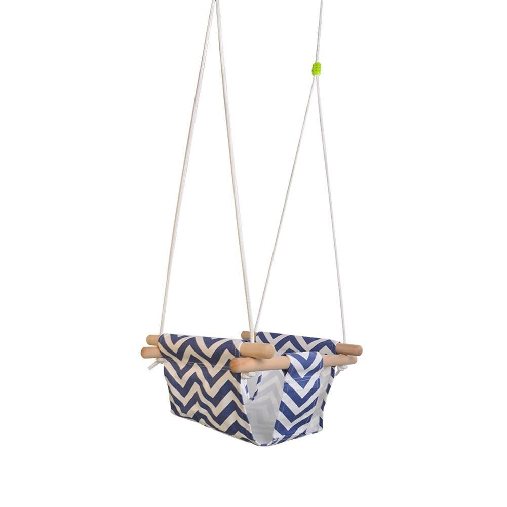 Jouet d'extérieur enfants maternelle bébé toile balançoire chaise suspendue en bois intérieur petit panier oscillant chaise à bascule avec coussin - 4