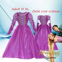 Yüksek Kalite 2016 Frozene Anna Kızlar Için Elbise Yetişkin Kadın Prenses Cosplay Kostüm Çocuk Giyim Vestido Ücretsiz Kargo