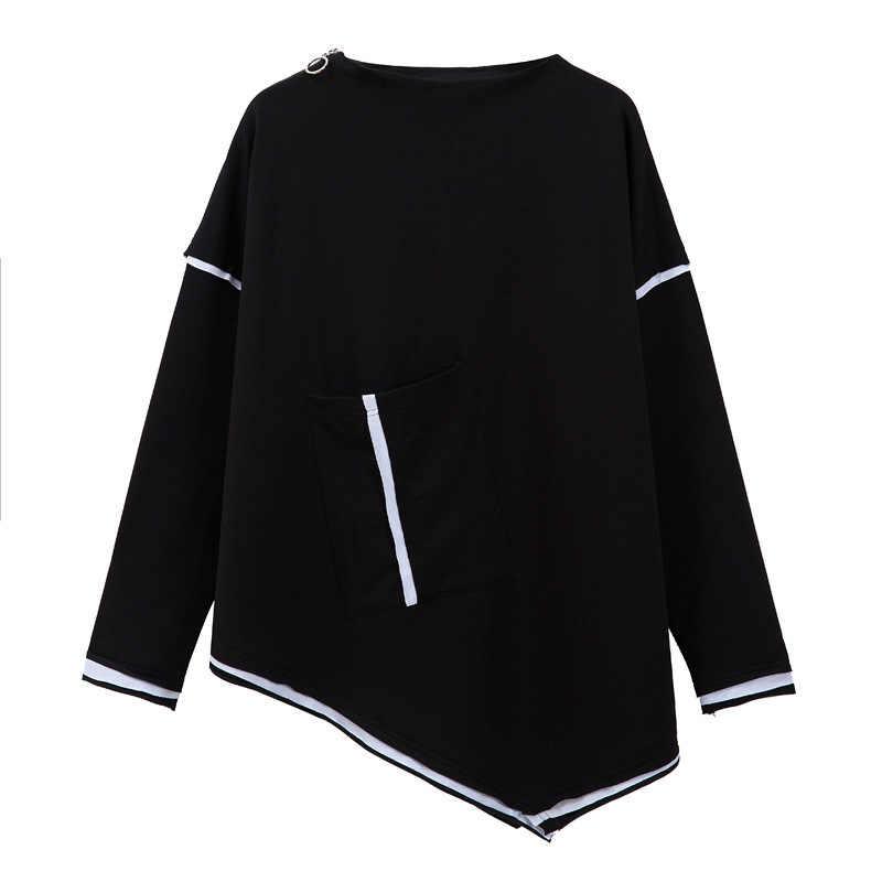 Max LuLu осенние модные корейские уличные Женские топы с длинными рукавами женские панк полосатые футболки повседневные негабаритные черные футболки