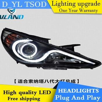 D-YL Car Styling for Hyundai Sonata 8 Headlights 2012-2015 Sonata LED Headlight DRL Bi Xenon Lens High Low Beam Parking Fog Lamp