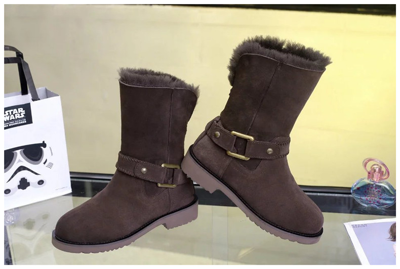 100% Genuine Sheepskin Leather Natural Fur Women Boots High Quality Fashion Snow Boots for WomenWarm Wool Winter Boots