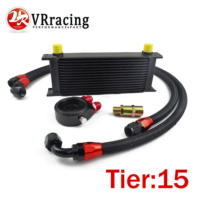 VR RACING - UNIVERSAL 15 ROWS OIL COOLER+OIL FILTER SANDWICH ADAPTER BLACK + SS NYLON STAINLESS STEEL BRAIDED AN10 HOSE vr universal 10 rows oil cooler engine an10 oil sandwich plate adapte with thermostat 2pcs nylon braided hose line black