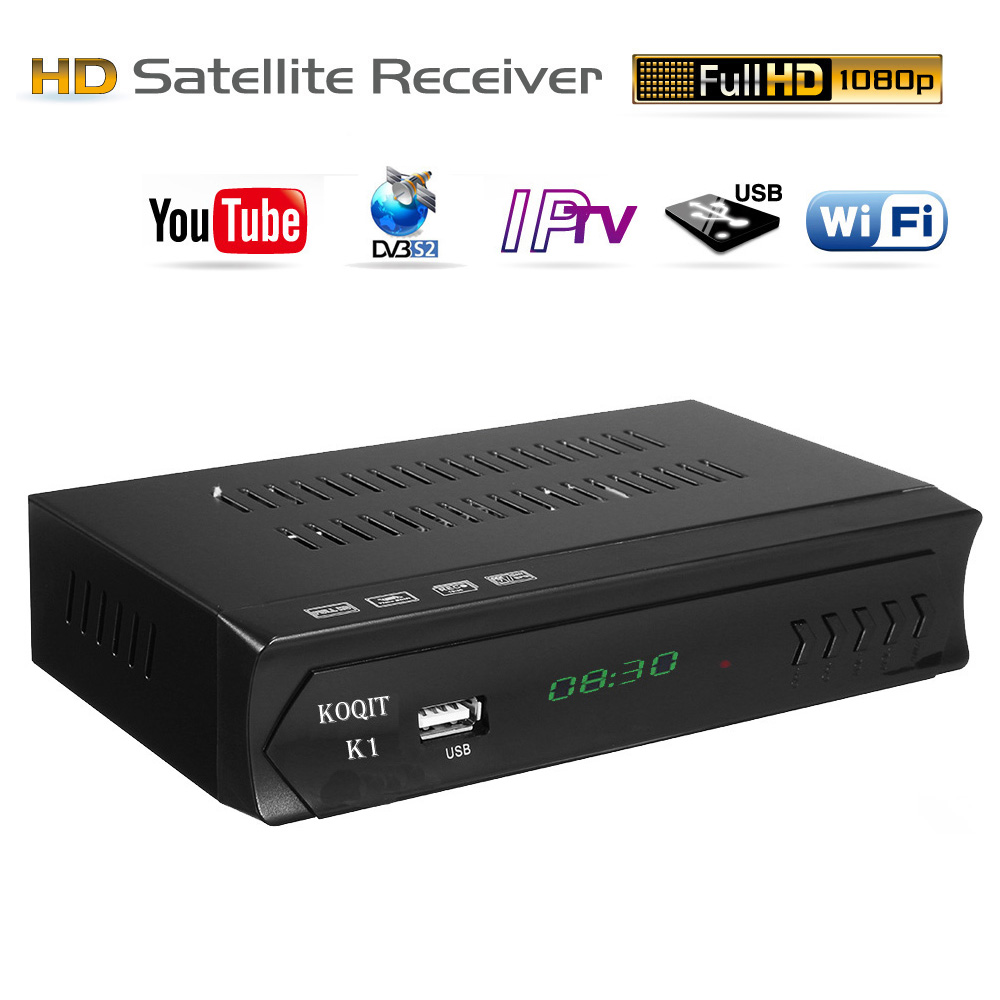 Koqit k1 m3u IPTV Player DVB-S2 HD Digital Tv Box Satellite Receiver Tuner  DVB S2 Receptor PVR Key Vu RJ45 Wifi Internet Youtube