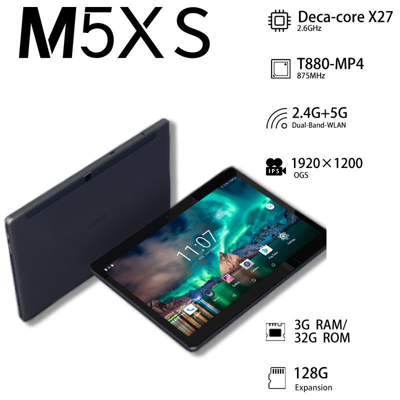 ALLDOCUBE M5XS 10.1 inch Phablet Android 8.0 4G LTE MTKX27 10 Core Phone Call Tablets PC 1920*1200 FHD IPS 3GB RAM 32G