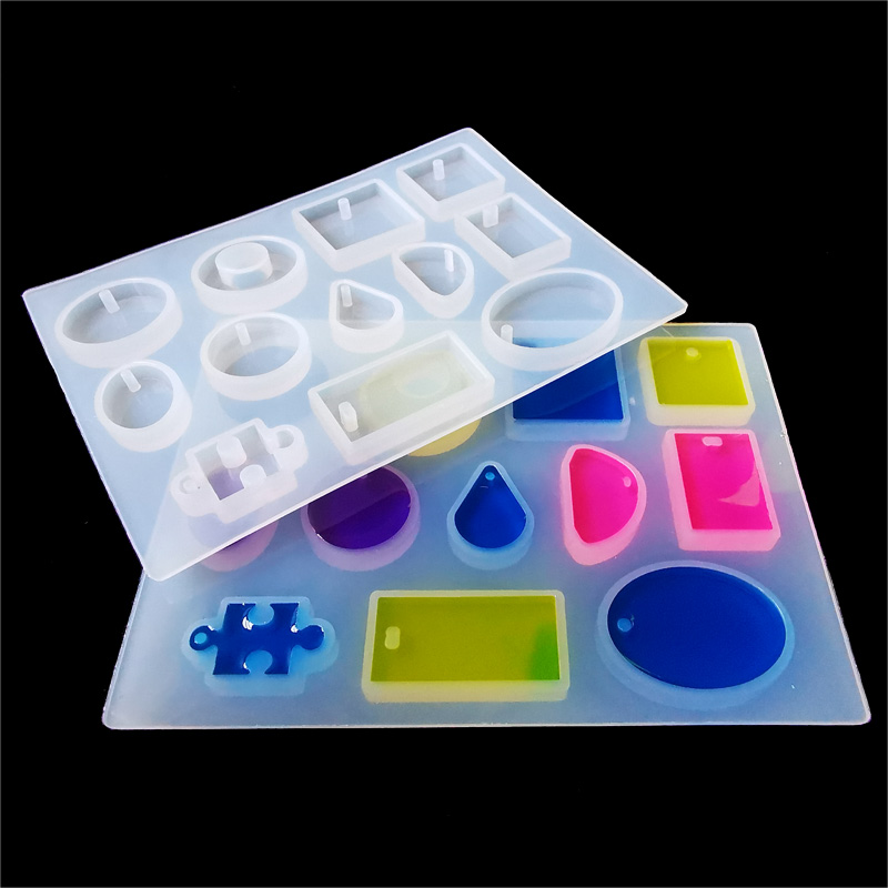 12 Designs Transparent Silicone Mold Necklace Pendant Uv Resin Molds Jewelry Making DIY Hand Craft Resin Mould For Jewelry