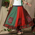 Free Shipping 2017 New Fashion National Trend Women Pleated Autumn Winter Embroidery Flower Japanese Style Skirt Long Maxi Skirt