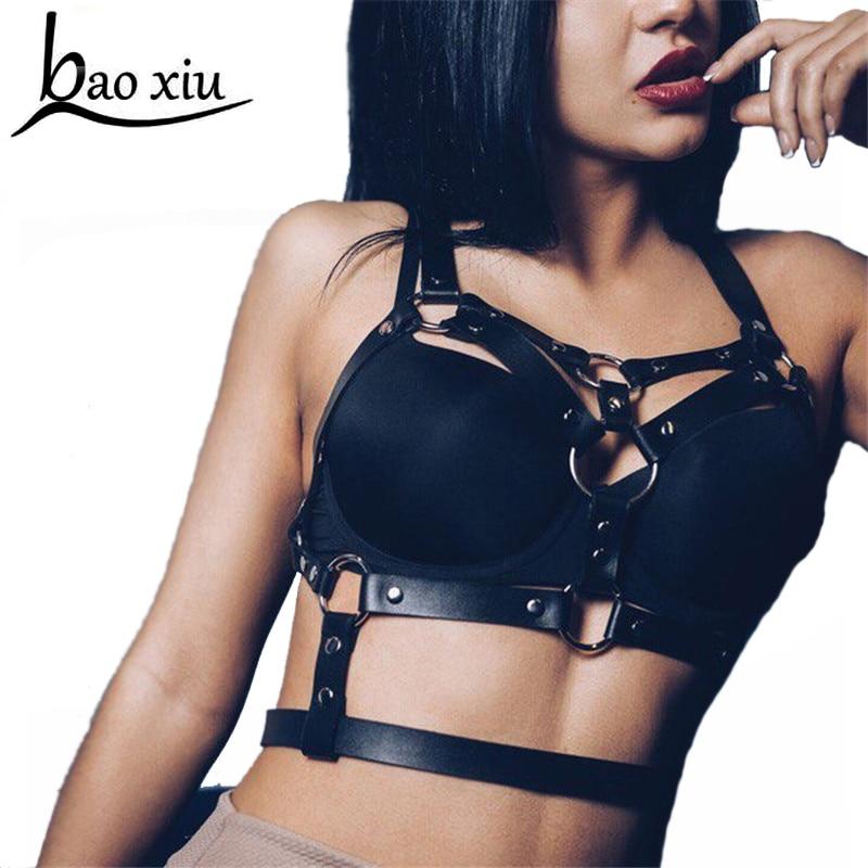 Hot Punk New Street Sexy Halter Adjustable Leather Harness Bra Harajuku Gothic Bondage Suspenders Waist Belt Straps Accessories