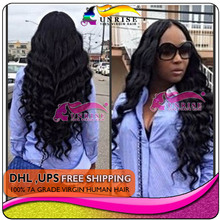 Free shipping  high 300% density lace front wigs brazilian Virgin Hair natural color loose curly wig