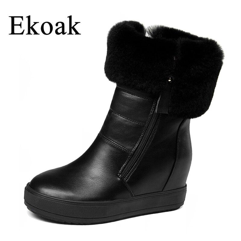 03f224cc97cd6 Dames Black Double Cheville Chaud Zips Bottes Femme Mode En Chaussures Lapin  Femmes Ekoak forme Coins white Peluche D hiver Fourrure Neige Plate ...