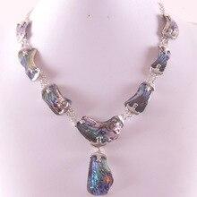 Натуральный Новозеландский Абалон ракушка цинковый сплав бусы ожерелье E839