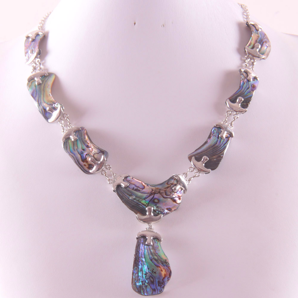 Natural New Zealand Abalone Shell zinc alloy Beads Necklace Free Shipping E839