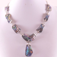 Natural New Zealand Abalone Shell Zinc Alloy Beads Necklace Free Shipping E839