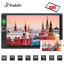 Podofo 2din Autoradio Multimedia Car Stereo FM USB AUX Bluetooth Autoradio 7010B MP5 Specchio Lettore Supporto di Collegamento Videocamera vista posteriore