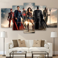 Canvas Home Decor Batman Paintings Wall Art 5 Pieces Justice League Movie Posters Living Room HD Printed Wonder Woman Pictures
