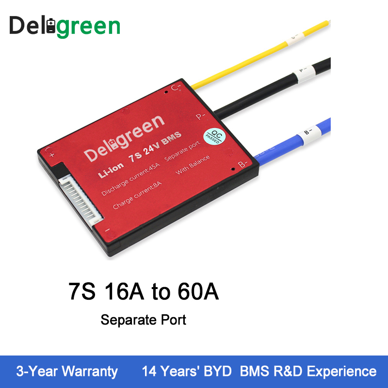 Deligreen 7S 16A25A35A45A60A 24V PCM PCB BMS for 3 7V lithium battery pack 18650 Lithion LiNCM