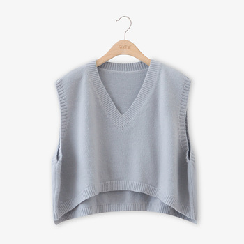 V Neck Cropped Sweater Vest Women Short Sleeveless Sweaters Fall