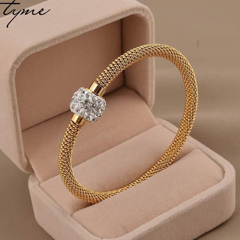 Titanová ocel pružina zlatý náramek lano lady náramek náramek bahno magnetické spony náramek ženské ruční šperky velkoobchod