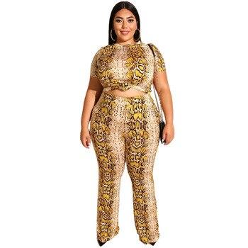 Mirsicas Snake Print Short Sleeves Crop Top Flare Pants Bell-bottom 2 Pieces Set XL-5XL