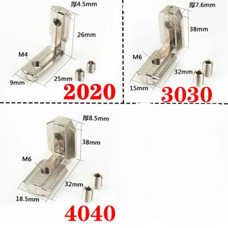 2-10pcs T Slot L-Shape 2020 <font><b>3030</b></font> 4040 Aluminum Profile Interior Corner Connector Joint Bracket with screw image