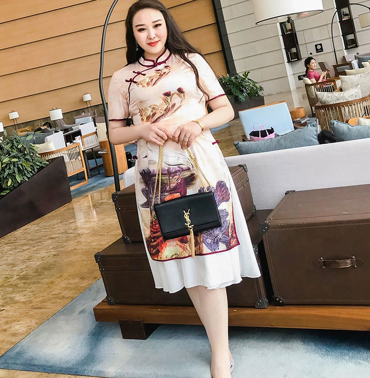 China Ancient Fashion Large size womens cheongsam retro folk style Qipao dress Short-sleeved Elegant Dress Spring Summer Lady